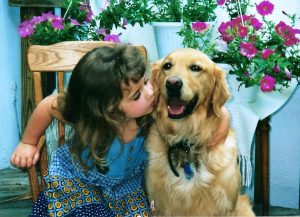 Child with Golden Retriever Dog after dog behavior training